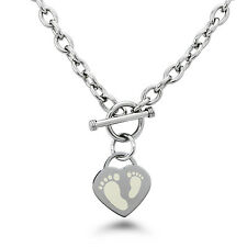 Stainless Steel Engraved Footprints Icon Charm Bracelet or Necklace