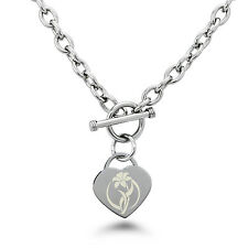 Stainless Steel Engraved Flower Icon Heart Charm Bracelet or Necklace