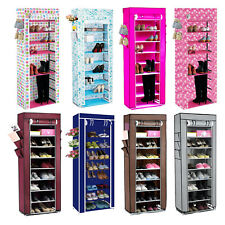 NEW 10 TIER CANVAS FABRIC SHOES RACK STORAGE CABINET RAIL ORGANISER ZIPPER STAND