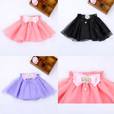 1-5Y Cute Baby Kids Girl Bow Lace Layered Skirt Bow Tulle Dress with Rose Acc