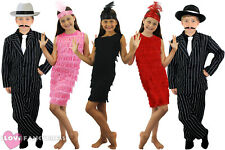 CHILDS 1920'S COSTUME GIRLS FLAPPER AND BOYS GANGSTER SUIT MUSICAL FANCY DRESS