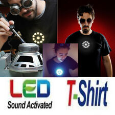 The Avengers 2 Tony Stark LED Iron Man T-Shirt Arc Reactor Mens Sound Activated