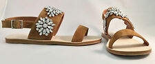 JEFFREY CAMPBELL DOLA TAN SUEDE SANDAL WITH CLEAR JEWELS