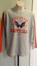 NWT Majestic Youtth Washington Capitals Long Sleeve Team Logo Gray T: Size S-XL