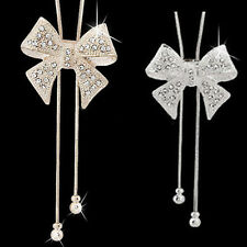 Women's Crystal Bowknot Butterfly Long Pendant Necklace Rhinestone Sweater Chain