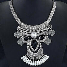 Retro Fashion Jewelry Feather Choker Chunky Statement Bib Collar Necklace Chain