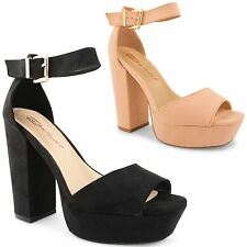 Womens Ladies Dolcis Platform Chunky Heel Peep Toe Ankle Strap Sandals Shoes