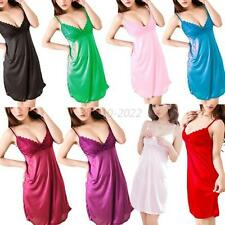 Women Lady Sexy Pajama Sleepwear Deep-V Backless Dress+G-string Multi-Colors B39