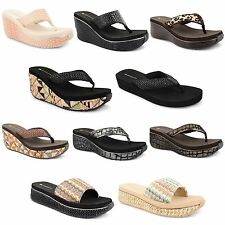 New Ladies Womens Dunlop Toe Post Platform Wedge Flip Flops Sandals Shoes Size