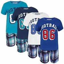 BOYS 2 PIECES SHORT SLEEVE T-SHIRT & CHECKED SHORTS SET KIDS SUMMER KIT 3-14 Y