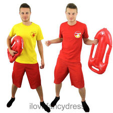 MENS LIFEGUARD FANCY DRESS T-SHIRT COSTUME OPTIONAL FLOAT STAG OR LADS HOLIDAY
