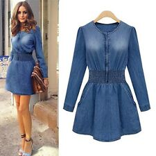 Vintage Women Long Sleeved Slim Casual Denim Jeans Party Mini Dress Elegant