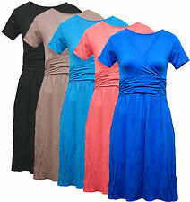 New Womens Ladies V Neck Wrap Short Sleeve Summer Jersey Tunic Top Dress Size