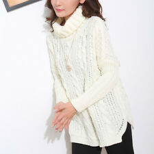 Fashion Women's Long Sleeve Turtleneck Chunky Cable Knit Loose Sweater Pullover