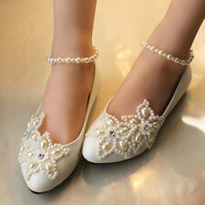 Mary Janes Pearl Wedding Formal Party Evening Dress Flat shoes