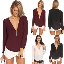 Fashion Sexy Women V-neck Zipper Long-sleeved Chiffon Blouse Shirt Tops Elegant