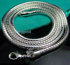 solid silver 3mm snake chain necklace for XMAS gift Promoting sale free shipping