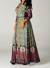 NEW PLUS SIZE MAXI DRESS BOHEMIAN MULTI-COLOR UNIQUE PRINT BOUTIQUE BEST SELLER