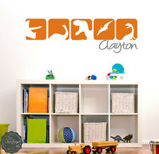Dinosaur Squares With Custom Name Wall Art Graphics Decals Stickers 1475