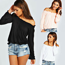 Sexy Fashion Womens Strapless Long Sleeve Shirt Casual Blouse Tops Elegant