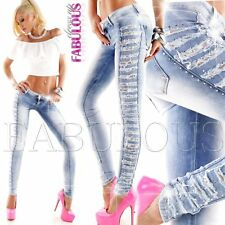 New Sexy Ripped Distressed Lace Womens Jeans Size 6 -14 Hot Denim Latest Fashion