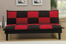 Sofa Couch Microfiber Sofa sleeper Bed Black / Red Furton sofa F7001