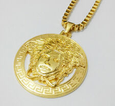 """18k Gold Finish Medusa Head-Versace-Style Necklace Pendant With Box Chain 24"""""""