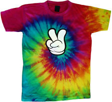 peace fingers peace sign tie dye t-shirt cool colorful tie dye tee shirt