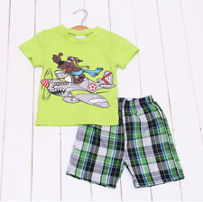 Free Shipping Baby Boy Teenage 2Pc/Set Short Sleeve T-shirt +Pant Outfit 2-7Ys