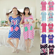 Womens Love Heart Lingerie Nightdress Short Sleeve Pajamas Cotton Robe Sleepwear
