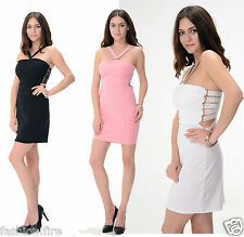 New Womens Ladies Celeb Inspire Plain D-RING Stretch Bodycon Midi Dress UK 8-14