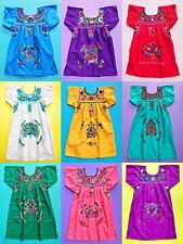 GIRLS PEASANT EMBROIDERED MEXICAN DRESS ASSORTED COLORS AND SIZES