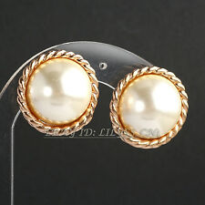 Fashion Button Pearl Stud Earrings Clip on 18KGP