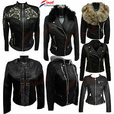 New Womens Ladies Faux Leather Biker Jacket Crop Zip Coat Jacket Size 8 10 12 14