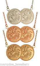 Sterling Silver Double Coin St.George Half Sovereign Necklace.