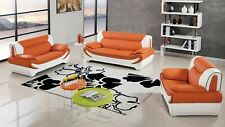 Modern leather sofa loveseat chair set couch ELM209
