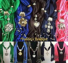 Fashion Scarves with Rhinestone Pendant Charms - [US SELLER]