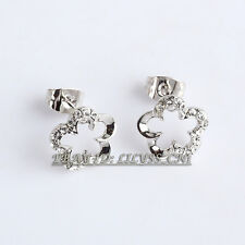 Fashion CZ Flower Stud Earrings 18KGP Crystal Rhinestone