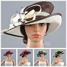 Vintage Women Wedding Dress Church Kentucky Derby Hat Wide Brim Flower Feather