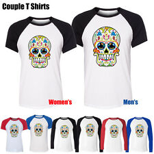 Colorful Painted Skull Wallpaper Graphic Men's Women's Couple T Shirt Tee Tops
