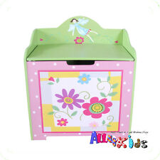 Hand paint Bright Color Girl Flower Storage Toy Box Bench Kids Room Furniture