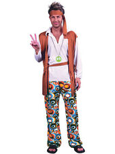 Mens Groovy Hippy Outfit 60s 70s New Fancy Dress Hippie Adult Costume Woodstock