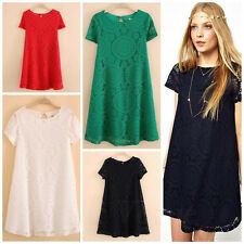 TY Women Cocktail Mini Dress Casual Sexy Lace Floral Casual Short Sleeve Dress K