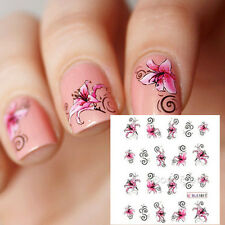 Butterfly & Flower Design Nail Art Water Transfers Decals Stickers Decoration