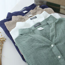 Womens Linen Stand Collar Button Down Shirt Top Blouse With Three-Quarter Sleeve