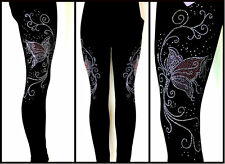 Plus One Size Full Length Leggings Rhinestone Embellished Pink Butterfly Swirl