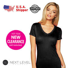 3 Pack Next Level Ladies Woman V-Neck Soft Wash T-Shirt Black 3400L (S-L)