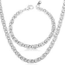 316L Titanium Stainless Steel Snail Chain Necklace Bracelet Set Men's Jewelry