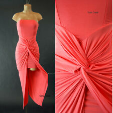 New Coral  Goddess Shirring Wrap 12105 Knotted Strapless Tulip Tube Dress S M L