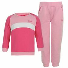 Lonsdale 2 Piece Baby Tracksuit Sweatshirt Joggers Set Infant Girls Pink/White